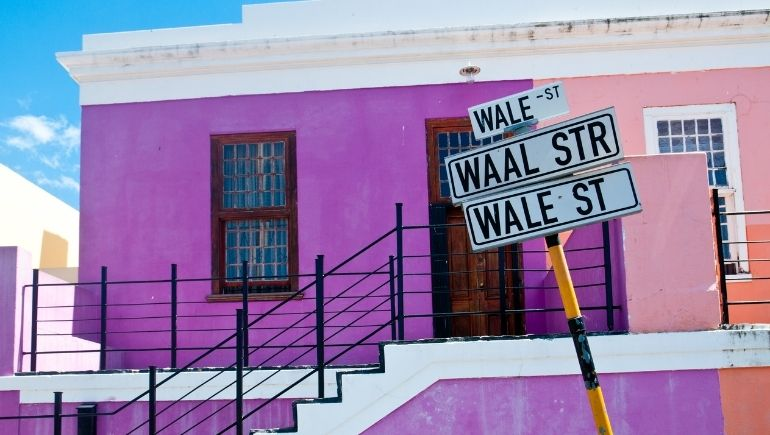 Calle y casas en Bo Kaap