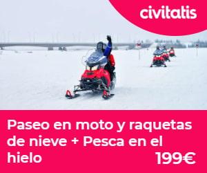 Paseo en moto y raquetas de nieve