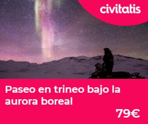 Paseo en trineo bajo la aurora boreal