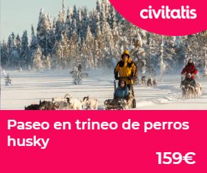 Paseo en trinero de perros Husky para un viaje a Laponia con niños